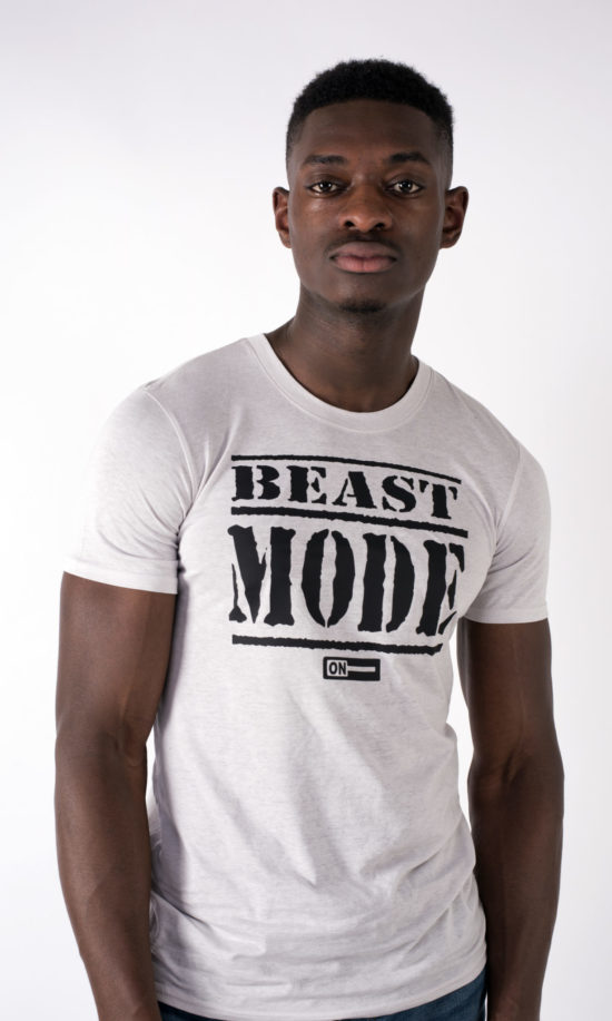 beast mode on mens t-shirt Silver
