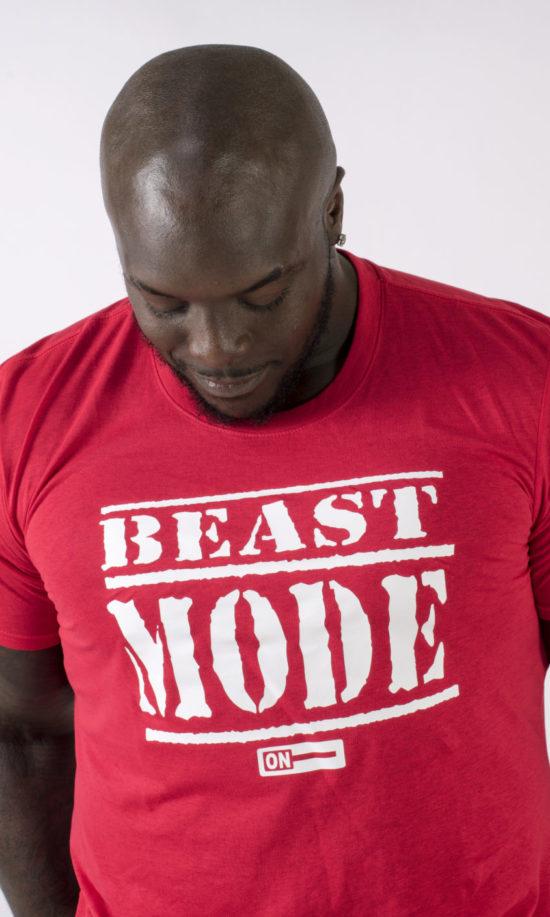 beast mode on akinfenwa mens t-shirt red