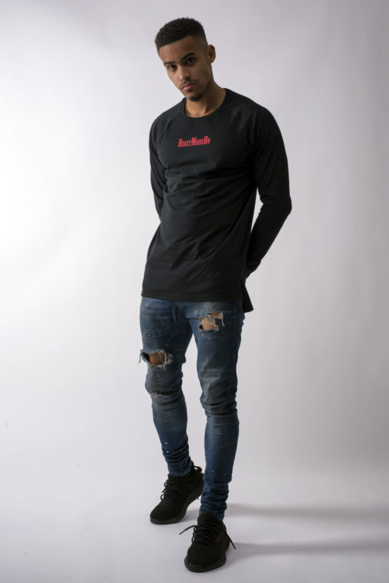 Beast Mode On Fitted Long Sleeve T-Shirt Black